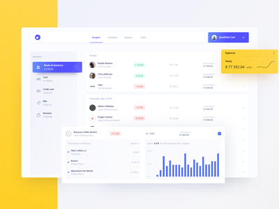 Budget Saver ui  ux sketch product design design creative clean app 2019 trend dashboard graphic web design web ugem