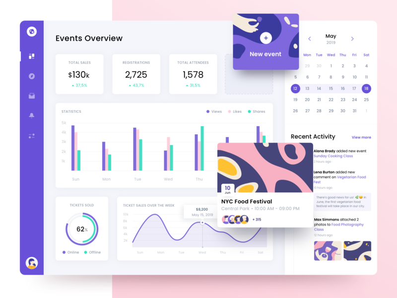 Event Manager ux ui clean design management stats admin events purple graphic web webdesign dashboad illustration app ugem