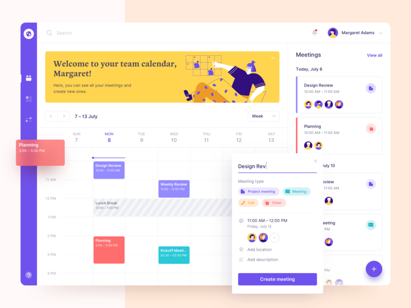 Dashboard - Meeting Scheduler users meeting pallete colored illustration clean cards interface web events app schedule calendar ugem ux ui product design dashboard web design