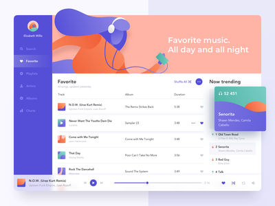Music Player icons colored app albums palette colors trending purple illustraion ux ui clean player product design dashboard music web design product interface ugem