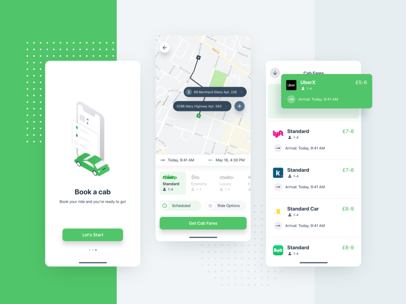 Taxi App cab car interface color comparison uber map green product design illustration ux ui taxi ios app mobile ugem