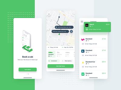 Taxi App cab car interface color comparison uber map green product design illustration ux ui taxi ios app mobile ugem