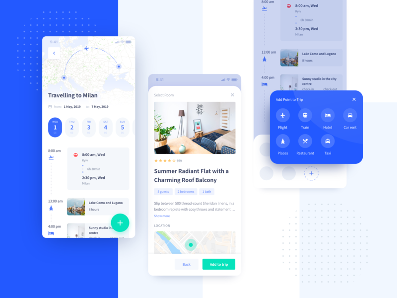 Trip Planner Responsive mobile ui design app airbnb fly tickets trip planner calendar map travel product design ios mobile app mobile design mobile ux ui interface ugem