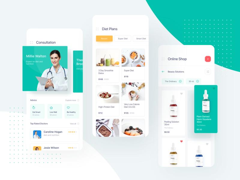 Health App online shop diet plan consultation ios mobile app color shop diet doctor medicine product design product clean ux ui interface ugem mobile app health