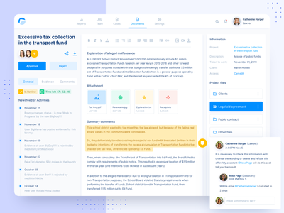 Legal Services Platform legaltech files reports documents editor product design