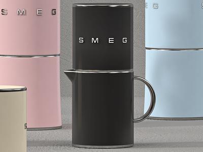 Smeg Neopolitan Coffee Pot digital art render visual design art direction creative direction product design cinema4d 3d