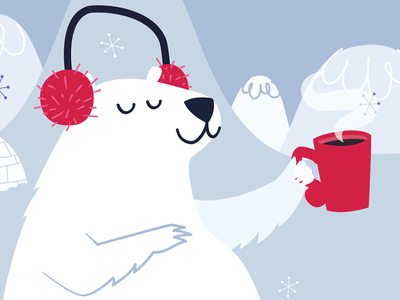 Winter In The City red blue cold hot chocolate polar bear winter poster