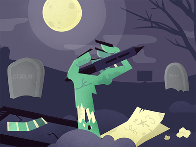 Designers' Mistakes tombstone graveyard color palette tablet graphic design designer mistake death purple green creepy zombie