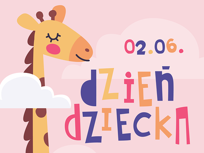 Children's Day 2018 cute letters typography childrens day child cute animal giraffe pink poster