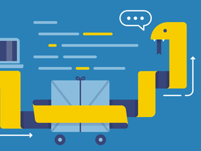 Python in Yellow blue minimalist flat computer yellow coding programming illustration snake python
