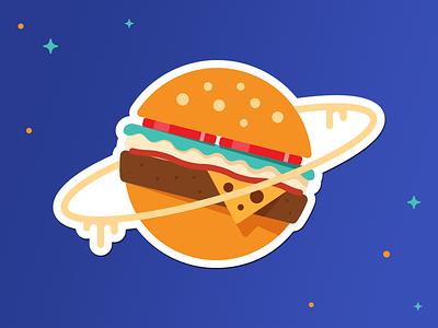 RocketLuncher Stickers I astronaut hamburger food space sticker