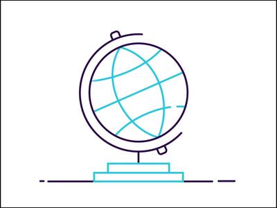 Travel Icon flat lineart plane earth globe travel aniconaday animated icon animation