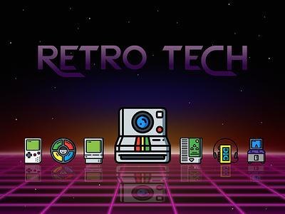 Retro Tech music video games toys gameboy arcade walkman iconsets icons polaroid 80s retro technology