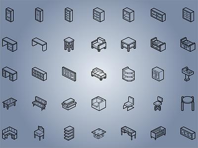 Isometric Furniture Icons 3d illustrator icon sets icons isometric