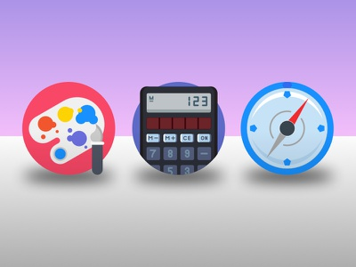 Dailyicon day 03 challenge - create 3 school subject icons iconsets icons vectors school maths compass paint calculator illustration illustrator dailyicon