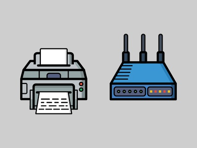 Dailyicon day 08 challenge - Create 2 office icons internet router wifi office printer icons vectors illustration illustrator dailyicon