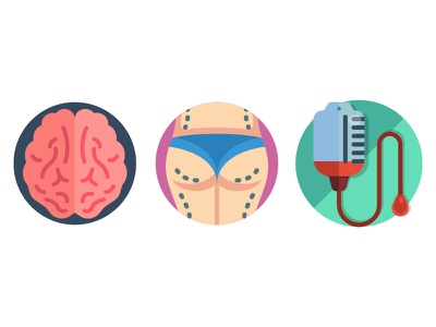 Dailyicon day 10 challenge - Create a set of Medical Icons dailyicon icons icon healthcare surgery blood medical svg vector brain flat colour illustrator