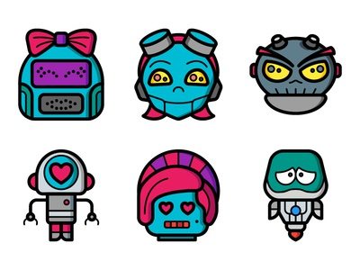 Icon Updates - February 2018 futuristic punk faces svg droids avatars cartoon illustrations illustrator iconsets icons robots