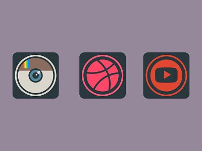 Dailyicon day 16 Create a set of social media icons iconsets youtube instagram dribbble logos socialmedia share social icons