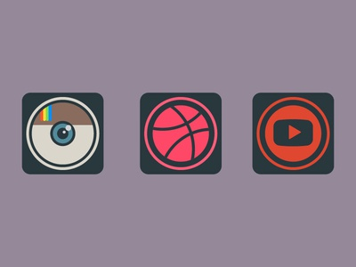 Dailyicon day 16 Create a set of social media icons iconsets youtube instagram dribbble logos socialmedia share social icons