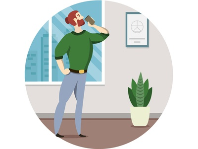 Office Hipster vector cartoon illustration character illustrator