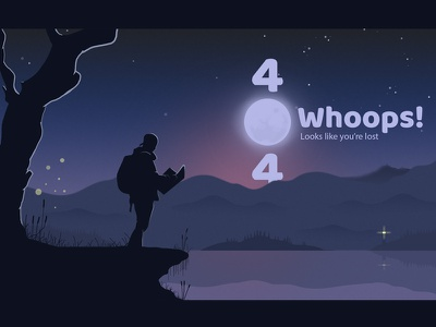 404 - Page - Lost in the wild sea woods night landscape photoshop missing website 404 page characters svg illustration design ui vector illustrator