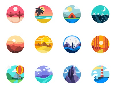 Landscape icons icons pack scenes landscapes design vector ui illustrator drawing vectors illustration dailyicon iconsets icons