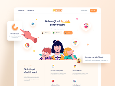 Okulistik Web Design book kids book landing page product ui design web design illustration colorful kids teacher student school online education education