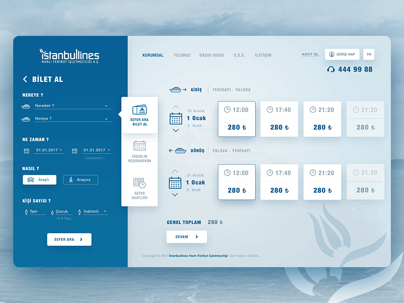Ferry Ticket Booking Page by Eray Yesilyurt on Dribbble