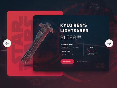 Star Wars /  Kylo Ren's Lightsaber UI card movie product shop ui ui design ux web web design