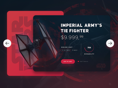 Star Wars /  TIE Fighter UI web design web ux ui design ui shop product movie card
