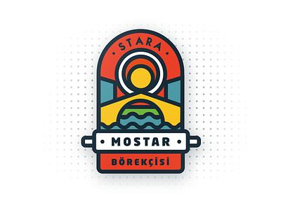 Mostar Bridge Restaurant / Logo Design badge vector bridge illustration identity food design brand logo