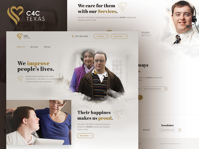 C4C Texas / Home Page Design down disabled intellectually valunteer donation association charity web design ux ui