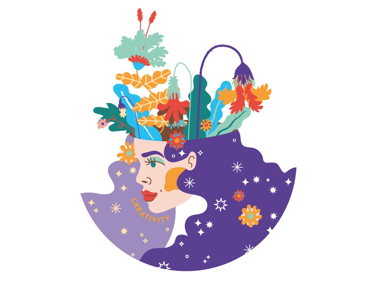 Creativity izy kali nebula stars graphic  design simple minimal flat floral flowers illustration
