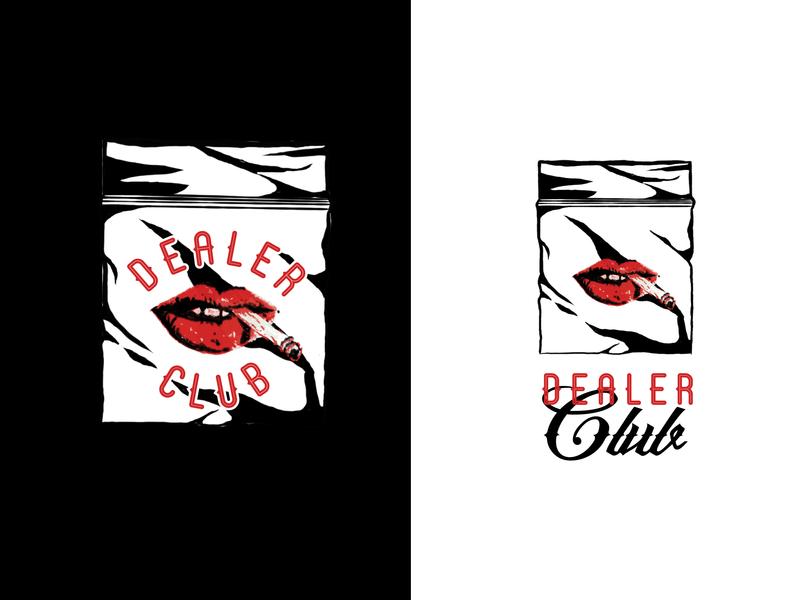 Dealer Club drugs baggie mouth lips illustration procreate branding logo