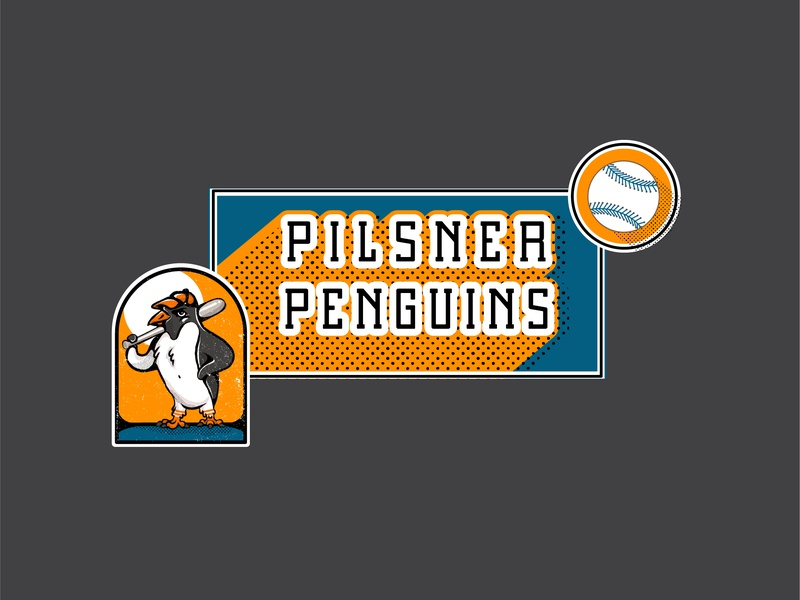 Pilsner Penguins softball sport illustration branding logo