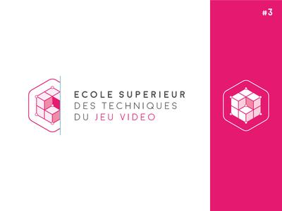 IAD School [ Concept #3 ] concept technical cubic cube geometric 3d school logo