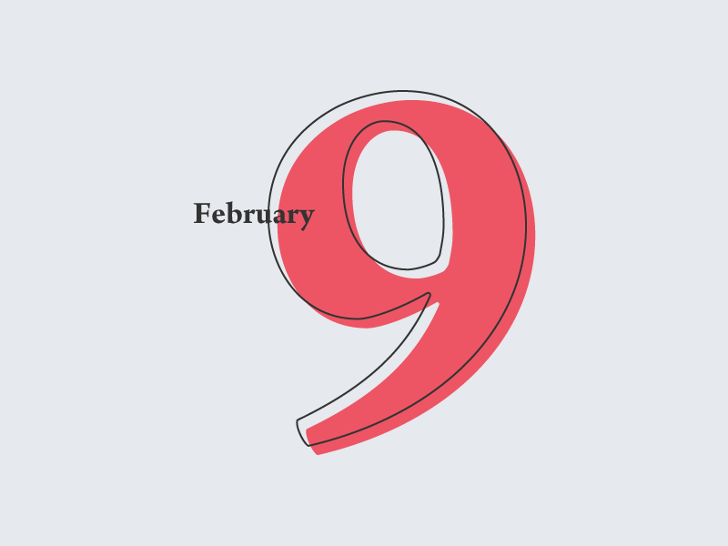 February 9 datetypography typography number february feb 9