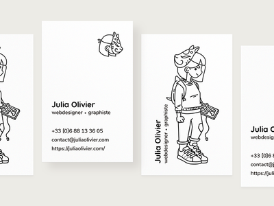 New business card! ✌️ black and white line illustration business card