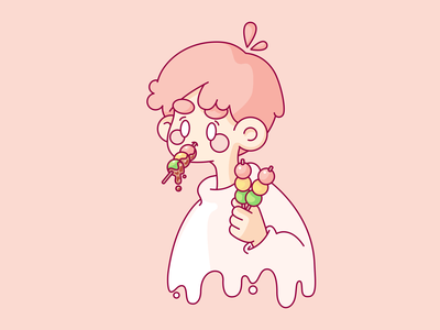 Dango Boy 🍡 pink dango vector pastel illustration