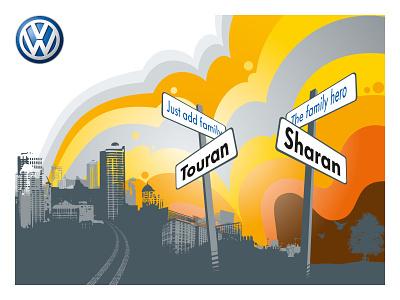 VW launch event artworking visual identity graphic design branding illustration exhibition design event branding