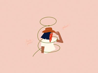 Saddlin' Up For Social Distancing lasso character illustration character social distancing face mask bandana western yeehaw cowgirl cowboy illustration digital texture retrosupply covid19 flat hand lettering ipad pro procreate flat illustration illustration