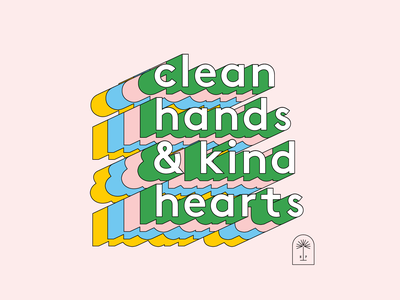Clean Hands & Kind Hearts vector wash your hands shapes kind hearts clean hands positivity positive variable type 3d type shadow type shadow type stretched type stretched florida tampa mural design covid19 covid mural