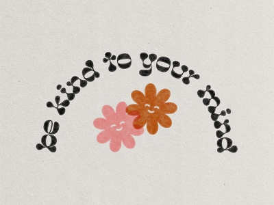 Be Kind To Your Mind groovy smiley vector illustration paper texture be kind be kind to your mind mental health 70s flowers atomica truegrittexturesupply texture type typography vector art illustrator vector graphic design flat illustration illustration