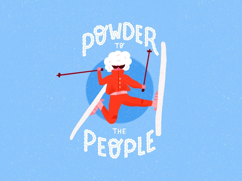 Powder to the people texture bright type ipad pro flat illustration typography procreate lettering hand lettering flat design graphic design illustration action skiing sports winter ski