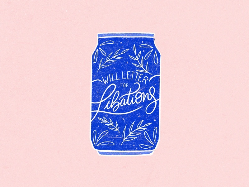 Will Letter for Librations beer label beer texture bright type lettering ipad pro hand lettering flat illustration typography flat procreate design graphic design illustration