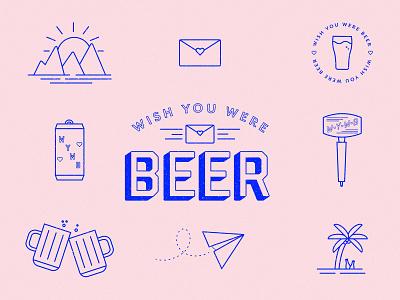 Wish you were beer brewery brew linework line work line art lines beer can tap handle pink blue illustrator vector illustration vector flat illustration illustration card post card beer wish wish you were beer