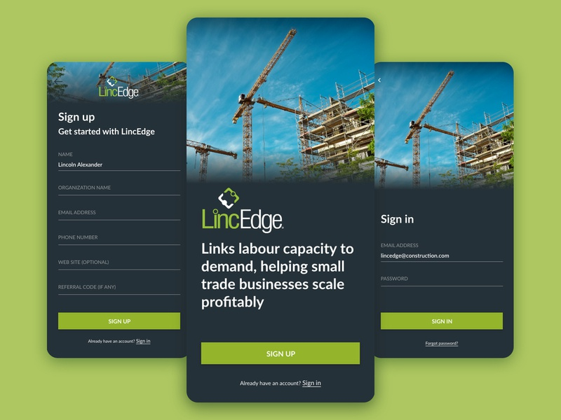 LincEdge Mobile App - Sign up/in construction sharing economy sign in signup mobile app design mobile ui mobile app app ui