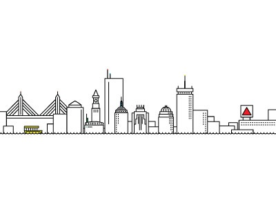 Minimalist Boston boston skyline city illustration minimal vector skyline boston