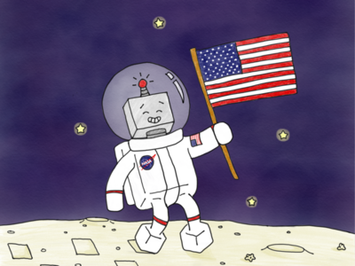 Moon Landing Theodore character nasa drawing illustration ipad art digital art moon moon landing space theodore the robot robot